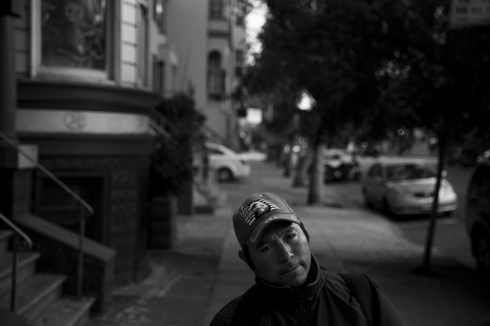 "Roberto Mendez Cruz stands for a portrait in the Mission neighborhood of San Francisco, Calif. on June 2, 2015.  Cruz is a roofer and carpenter who often works in the Mission, but cannot afford to live there.  ""San Francisco is super expensive,"" he said.  ""I did not realize coming from Los Angeles."""