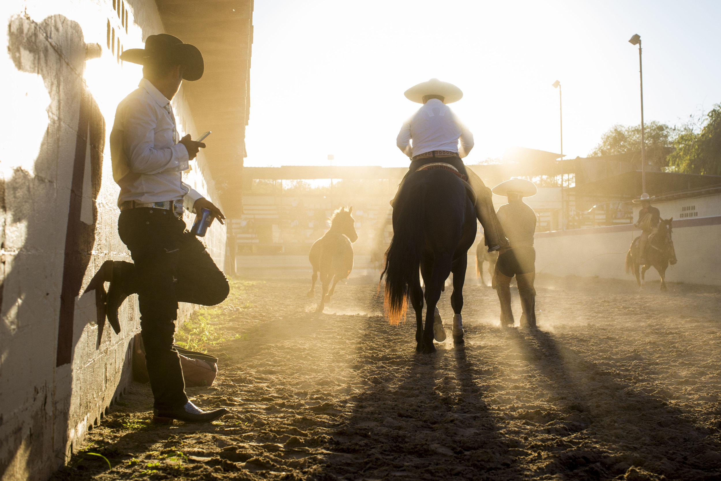 Charros try to lasso a loose horse as a part of the Anniversary of the Mexican Revolution Charreada at the San Antonio Charros Association in San Antonio, Texas, USA on November 20, 2016.   These charreadas are seen as a way for Mexican-Americans to hold onto and honor their heritage.  Teams are often comprised of several generations of family members.  The modern style of charreada developed after the Mexican Revolution, when the traditional charros began to disappear.