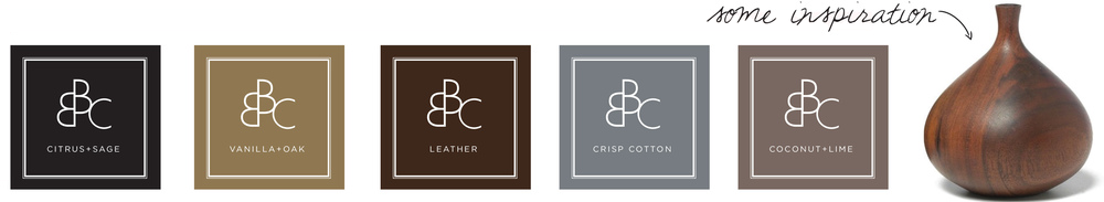 Simple, clean type and soothing neutrals inspired the labels. I took cues from nature, like wood grain, cork and sand.