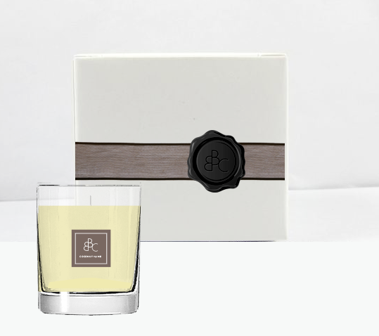Interim packaging — clean white high wall boxes, coordinating ribbon by scent label and wax seal.