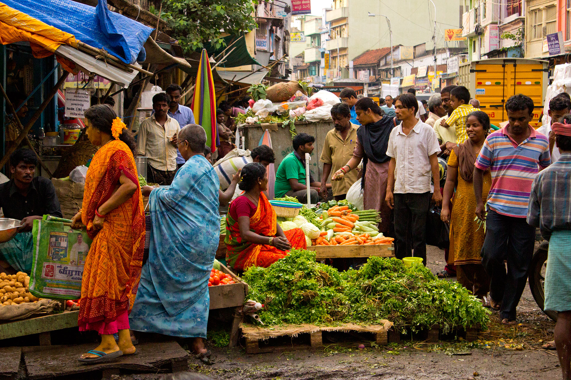 The busy and colorful Chennai Market