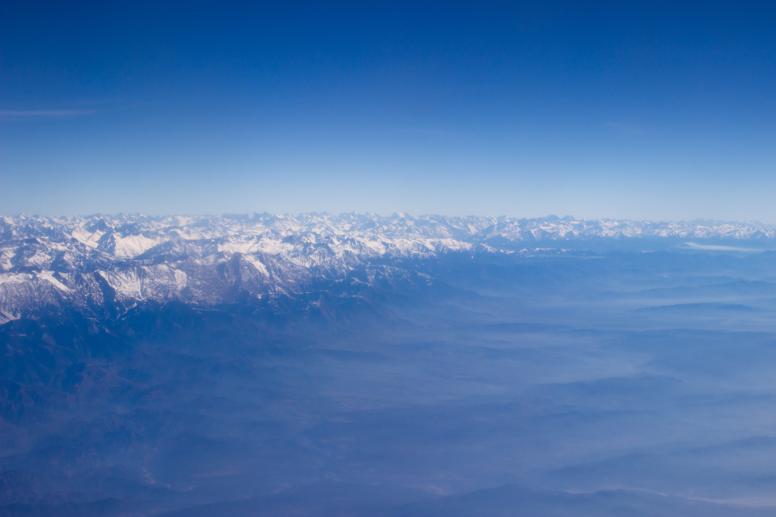 A glimpse of the Himalayas from the airplane, India
