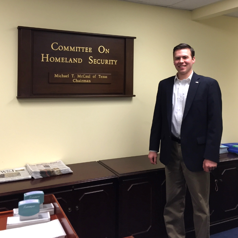 Andrew Johnian '16, intern at the Committee on Homeland Security, US House of Representatives