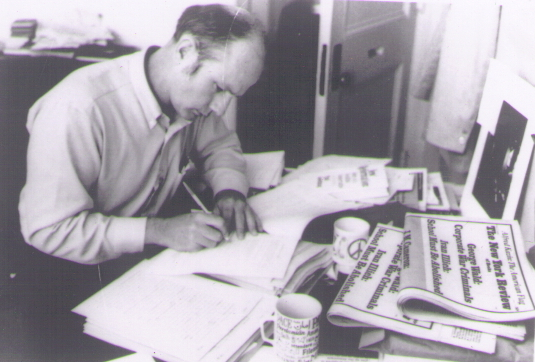 John Holt writing in his office at 308 Boylston Street., Boston, MA in the mid-1970s.