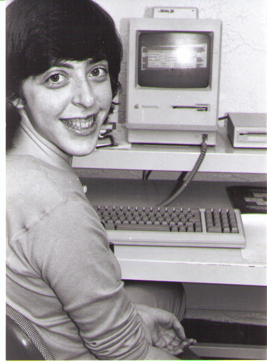 Susannah Sheffer working on our original Macintosh that created many the materials reproduced on this site.