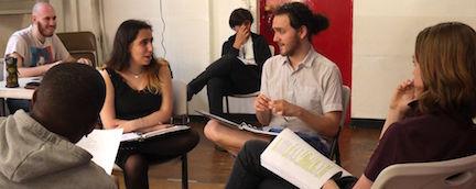Leo Lion (center, white shirt) rehearsing Romeo + Juliet. Photo by Joanne Rendell.