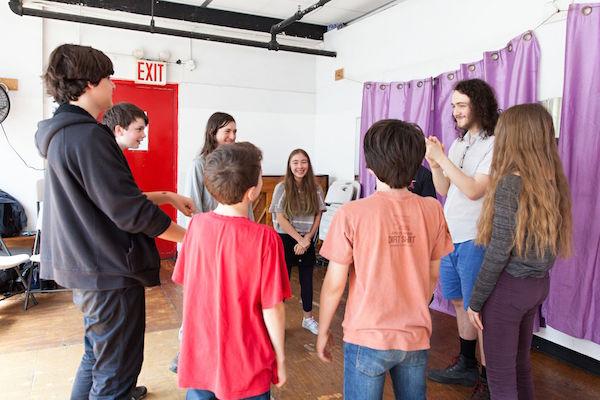 Leo teaching improvisation to the Firebird actors. Photo by Sofia Negron.