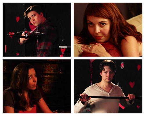 Clockwise from top left: Josh Heine (Cupid), Jo Bozarth (Eros), Kiera Anderson (Josephine) and Bradford Anderson (Achilles)