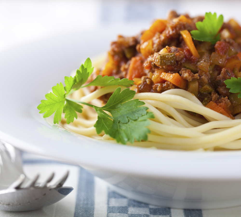 Spaghetti Bolognese, always a popular choice with athletes