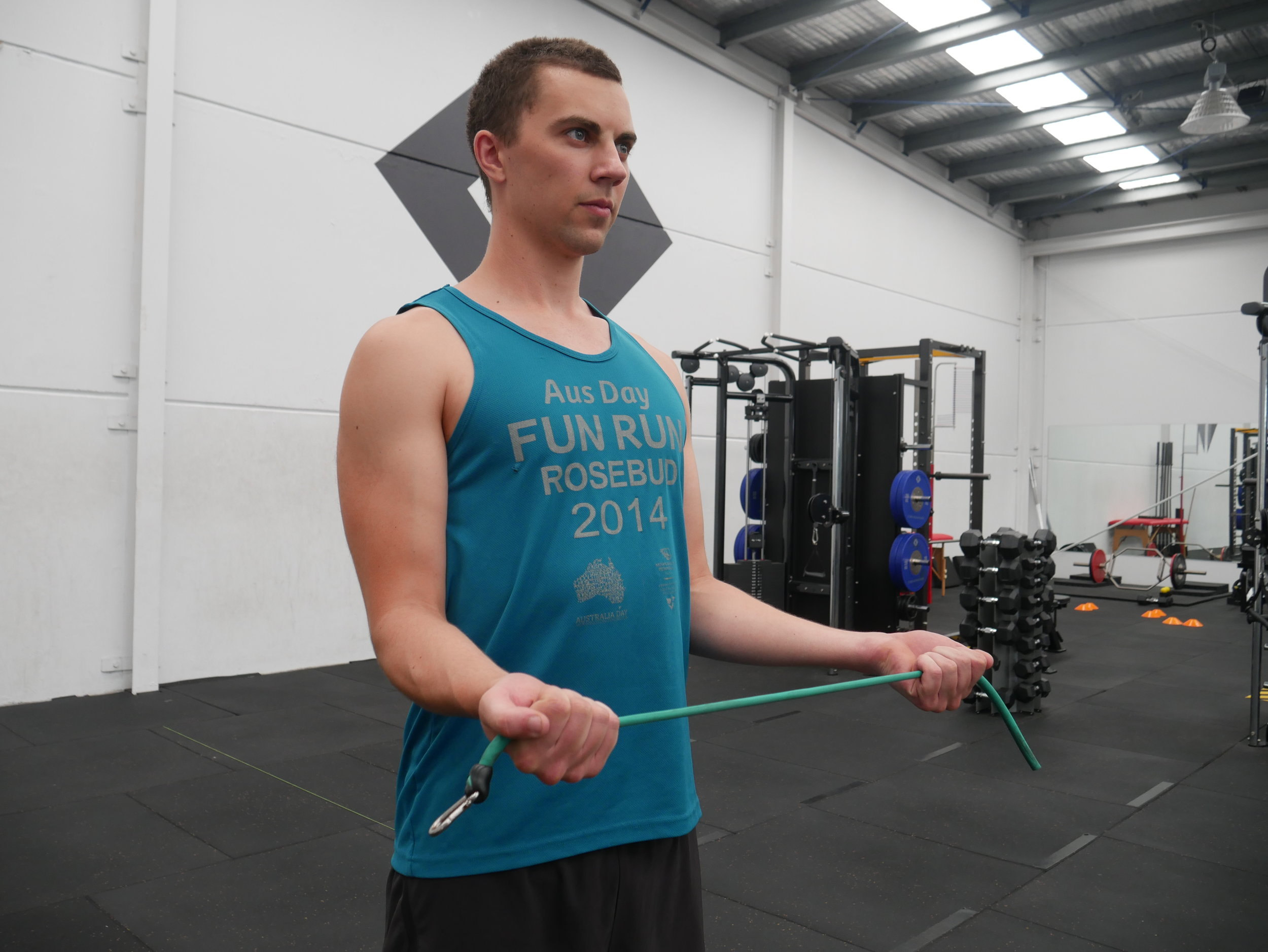 James demonstrating how to perform a theraband open book. Make sure you pin your elbows to your ribs