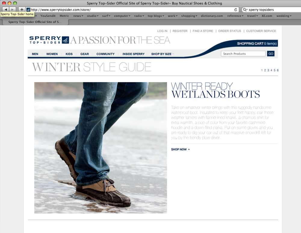 DIGITAL — Shoot art direction and layout for sperrytopsider.com