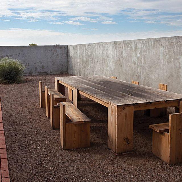 Donald Judd's outdoor furniture at Marfa #donaldjudd