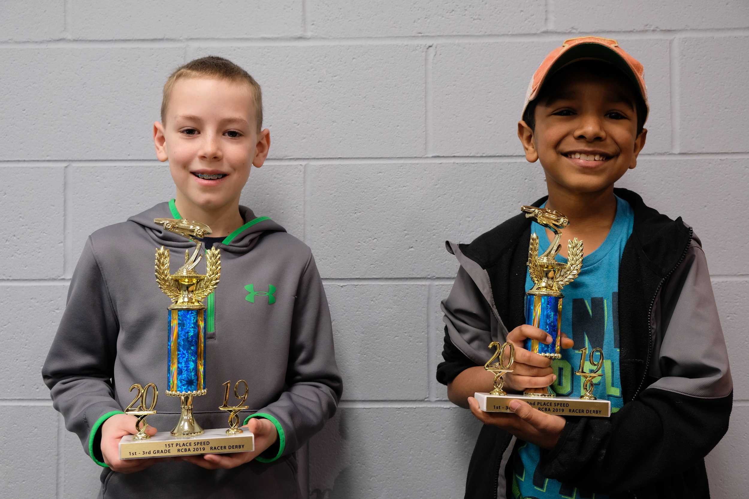 Derby Winners 1st - 3rd Grades Logan Weaver, Cedar Hill and Dominic Lindahl, Springfield