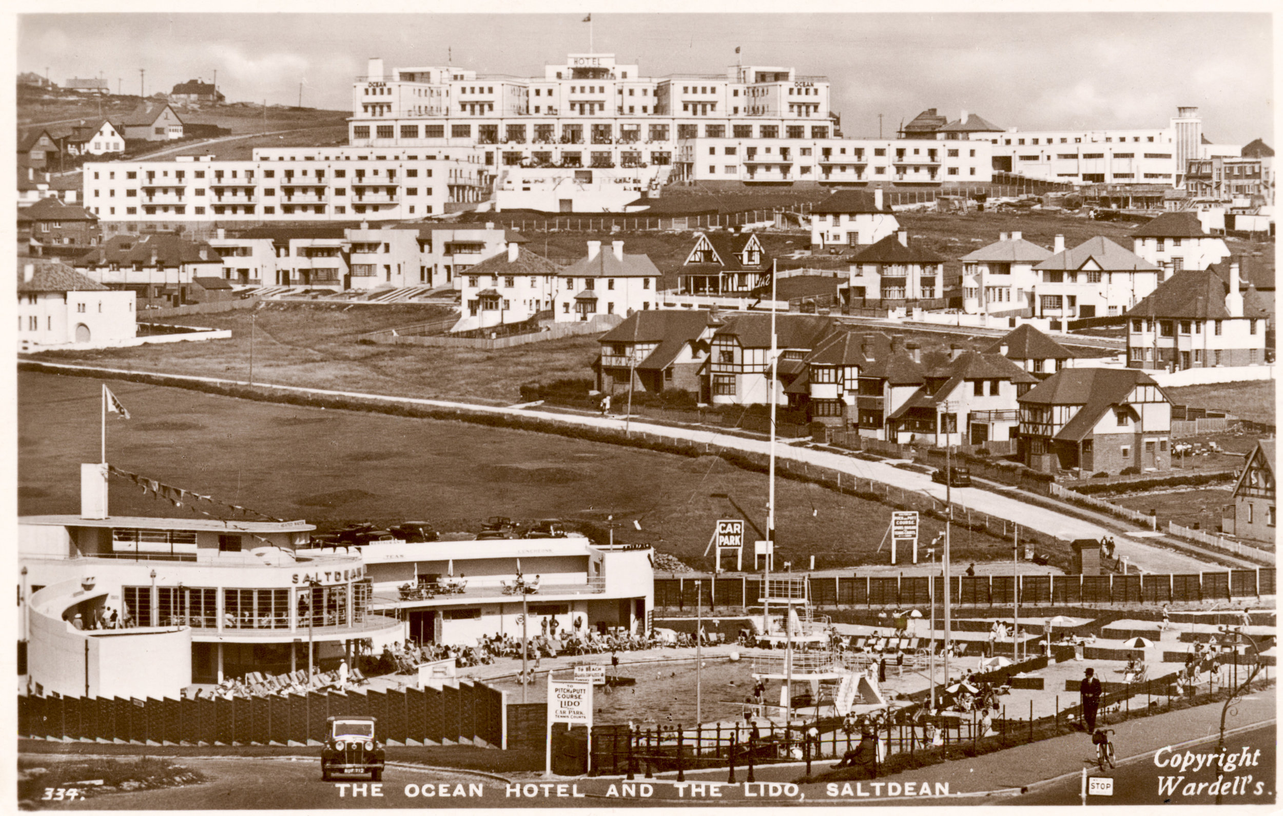 Circa 1940, depicting the sister attractions, The Ocean Hotel and Saltdean Lido. Both buildings opened in 1938, and are considered to be two of the finest examples of modernist architecture in the UK.