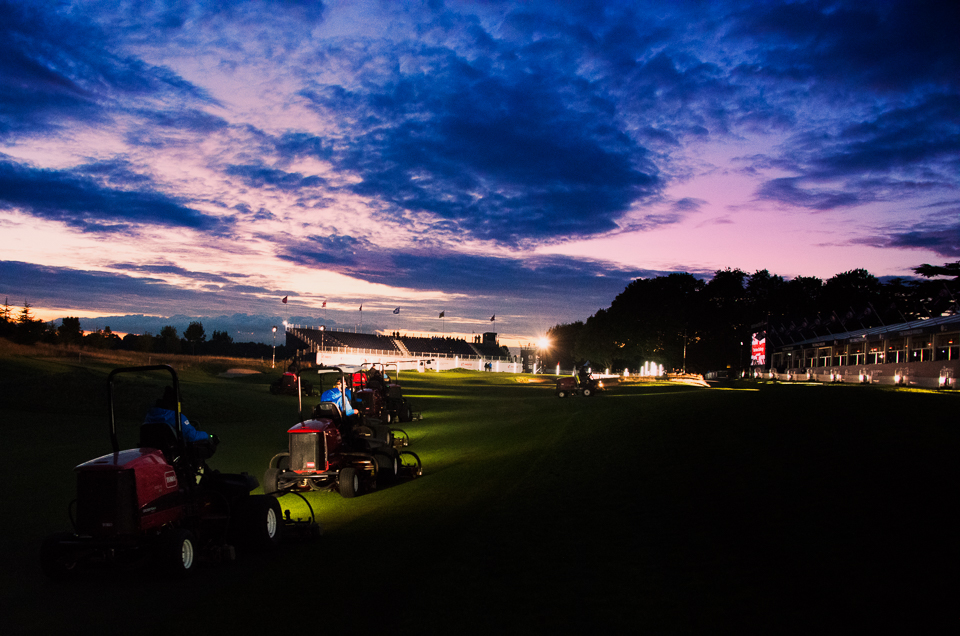 Late night fairway preparation.