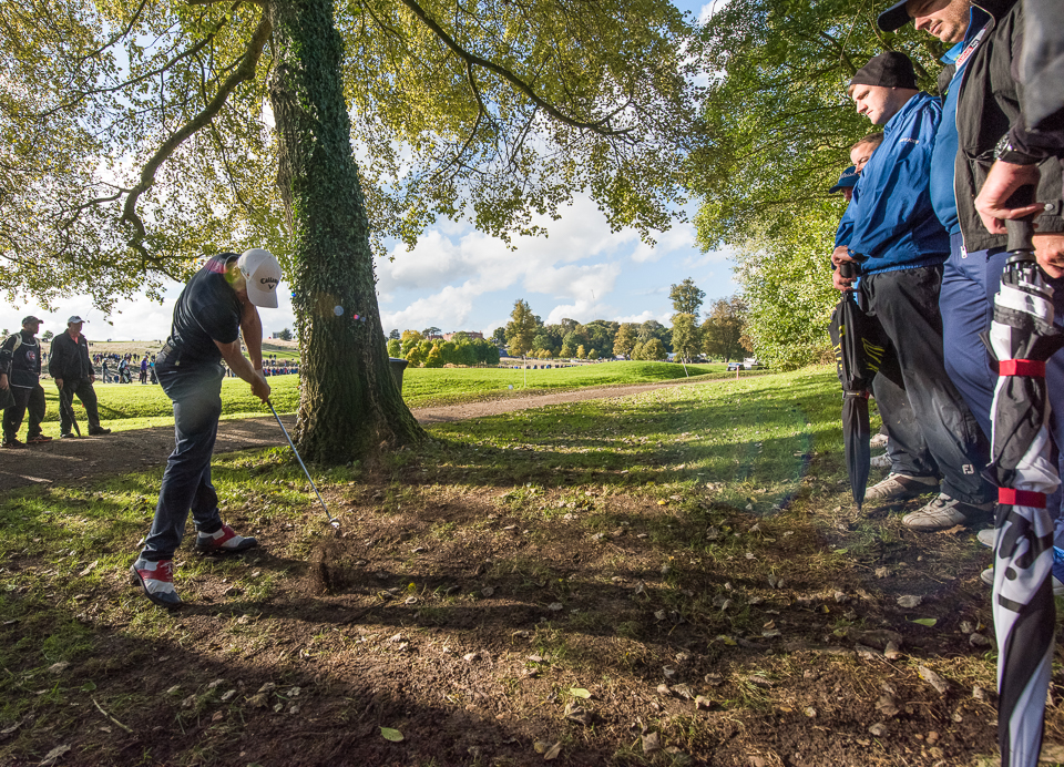 Special golf course photography as Alex Noren plays the tournament winning shot on the 12th