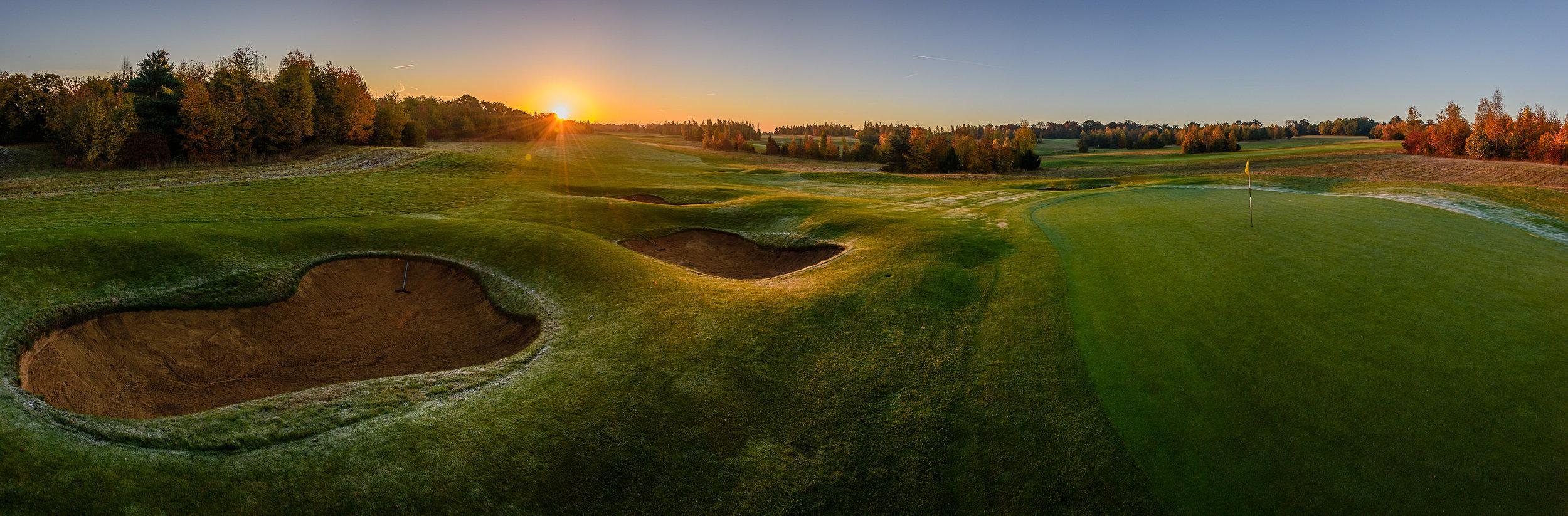 Gog Magog Golf Club, Wandlebury golf course 12th hole at dawn.
