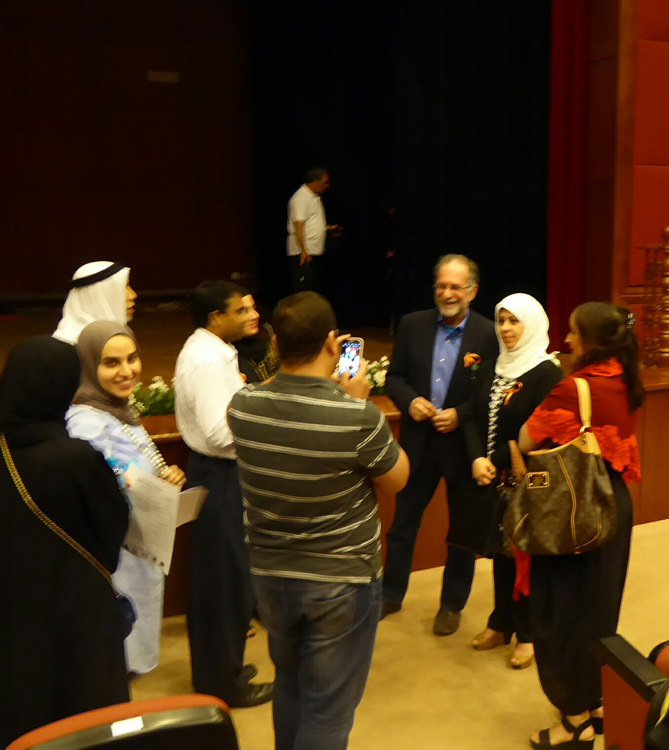 2016, answering questions after Autism in the Family lecture in Kuwait.