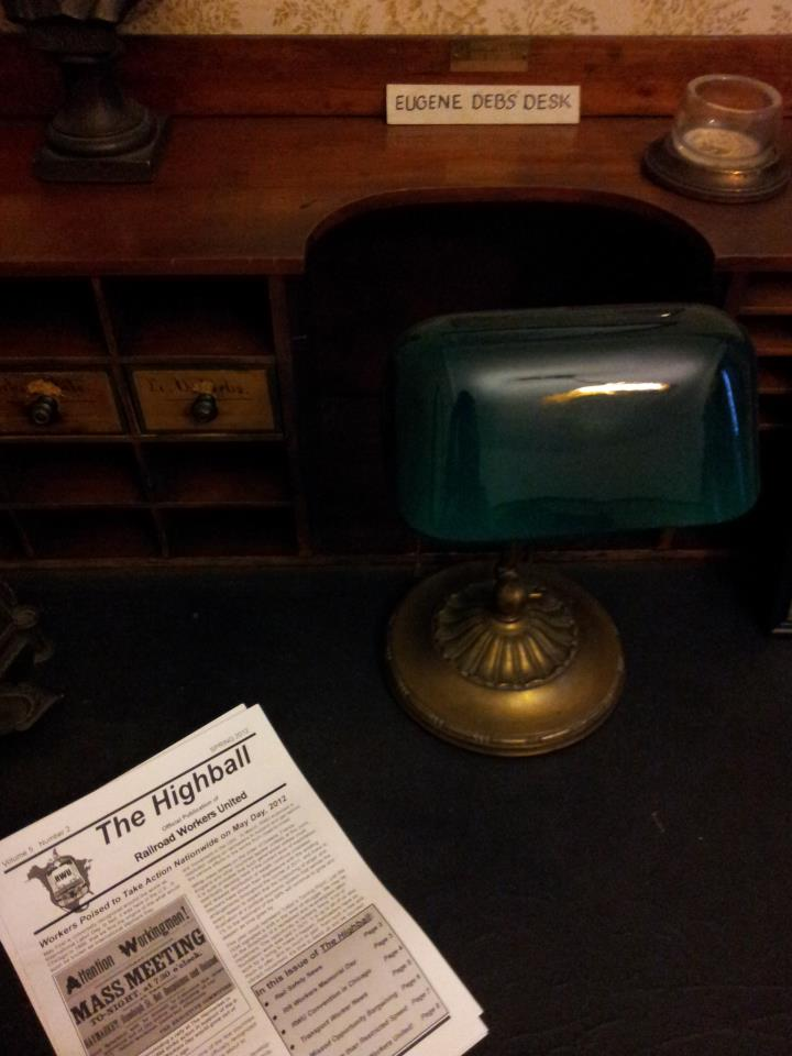 A copy of the RWU newsletter on Eugene Debs' desk in the Debs' Home in Terre Haute, IN.