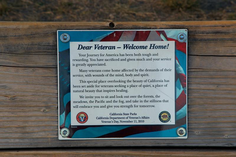 The plaque on Veteran's bench