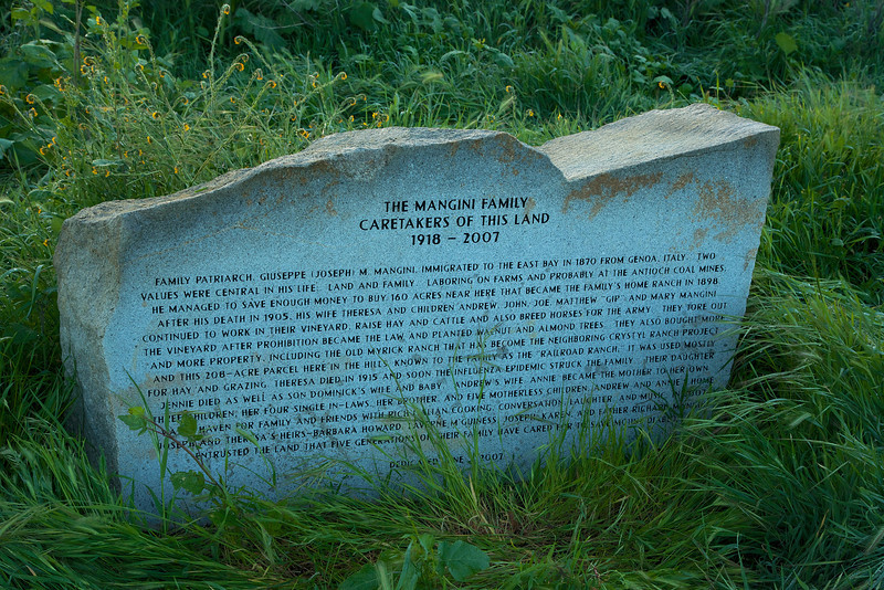 Marker at Mangini Ranch regarding the history of the property.