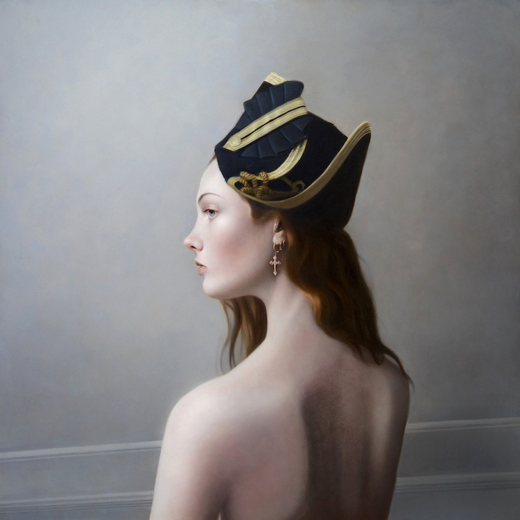 Girl in a Cocked Hat II   Oil on Panel 19 x 19 inches  2010