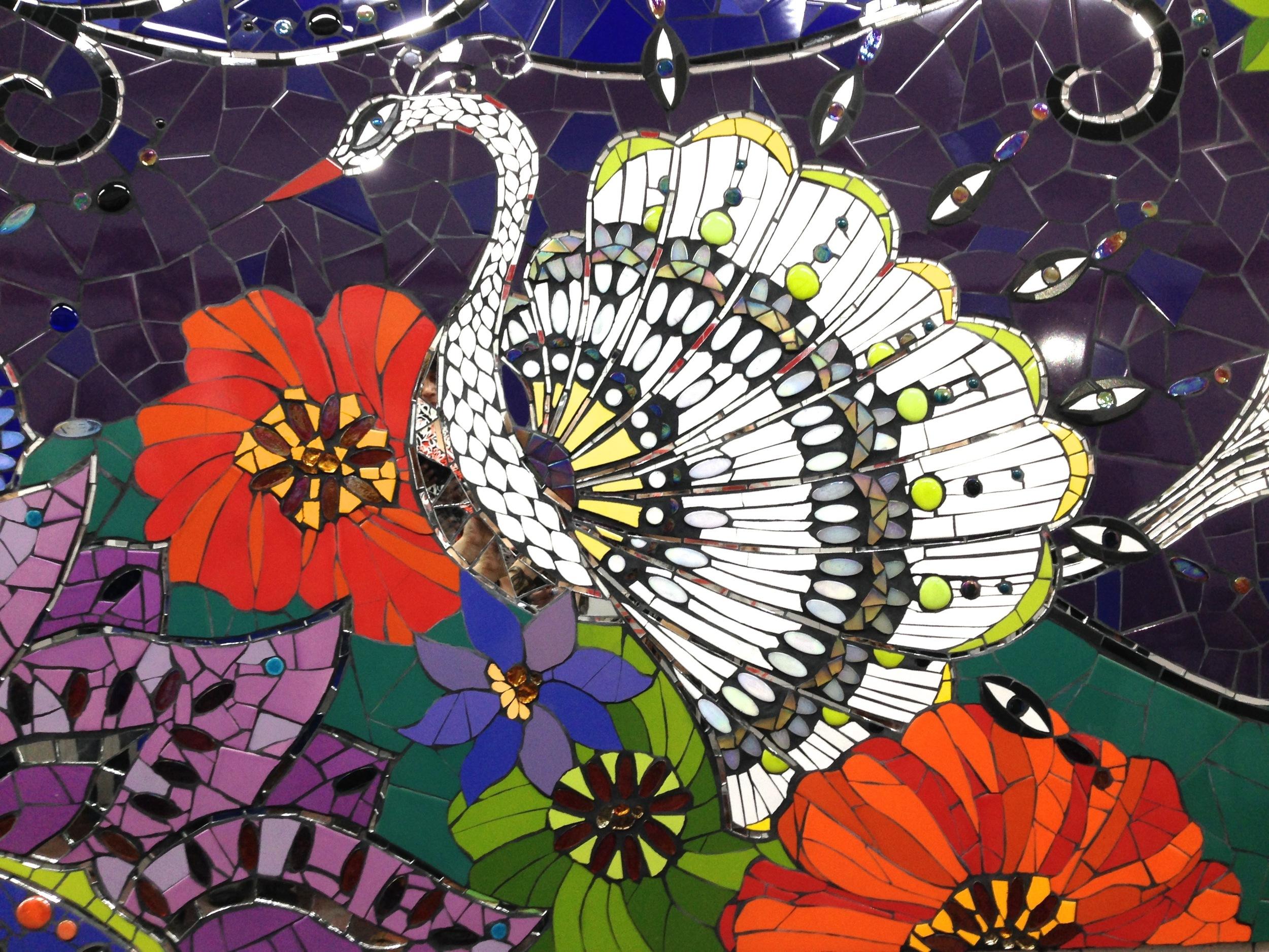 Detail, Mosaic Mural Created during Laurel True's Mural Making Workshop at FJ Mosaic Art in Buenos Aires 2014