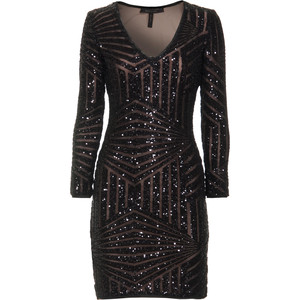 BCBGMAXAZRIA - Black Morris Sequined Cocktail Dress