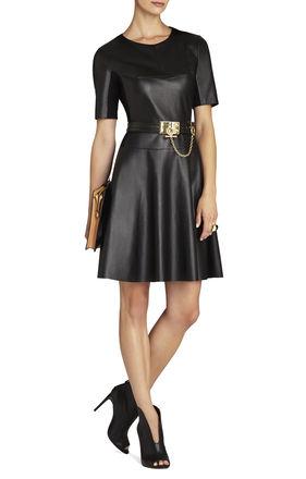 BCBG Darra Faux Leather A-Line Dress.jpg