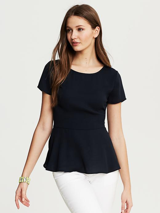 Navy Peplum Top Banana Republic