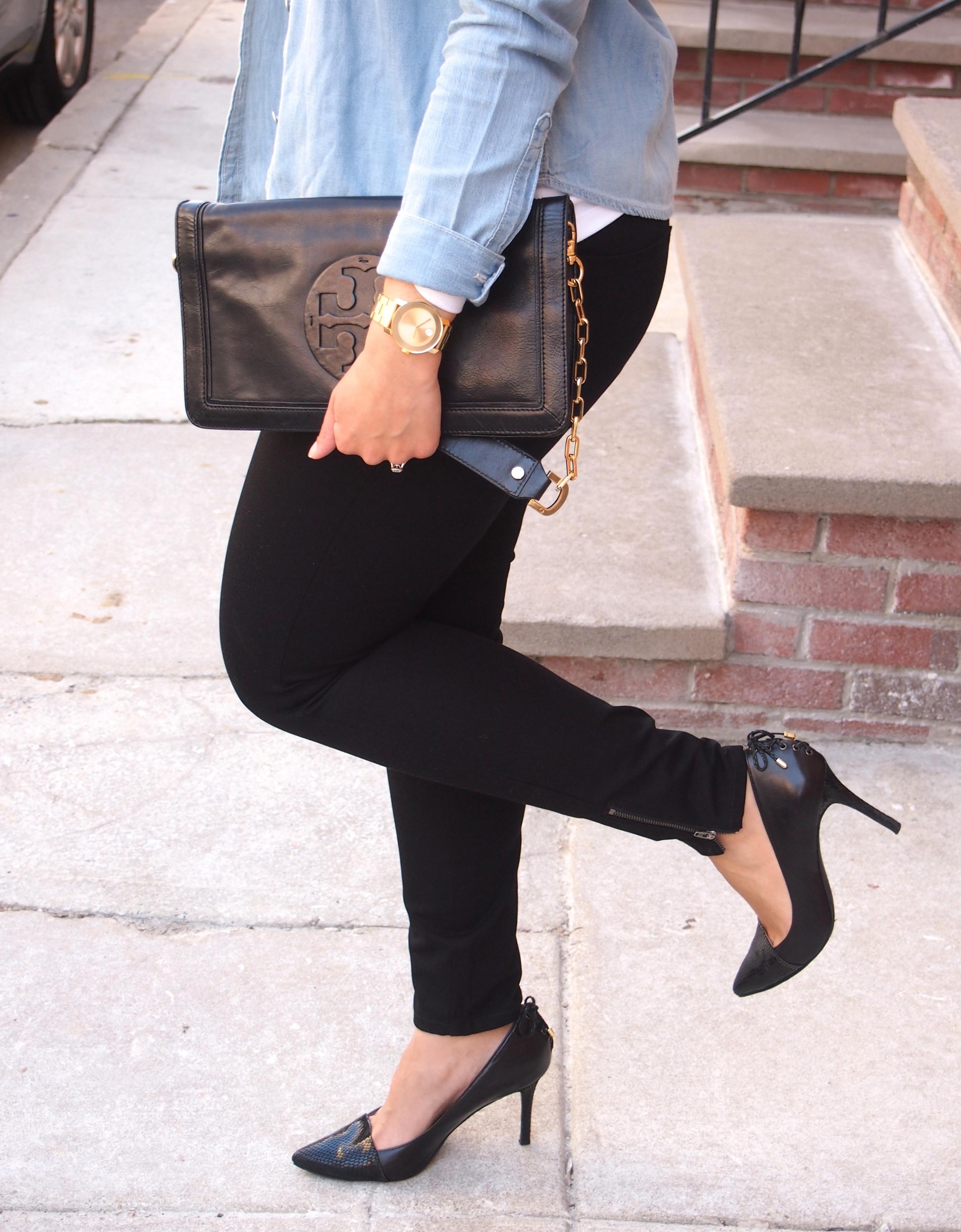 Chambray Shirt with Comfy Black Pants