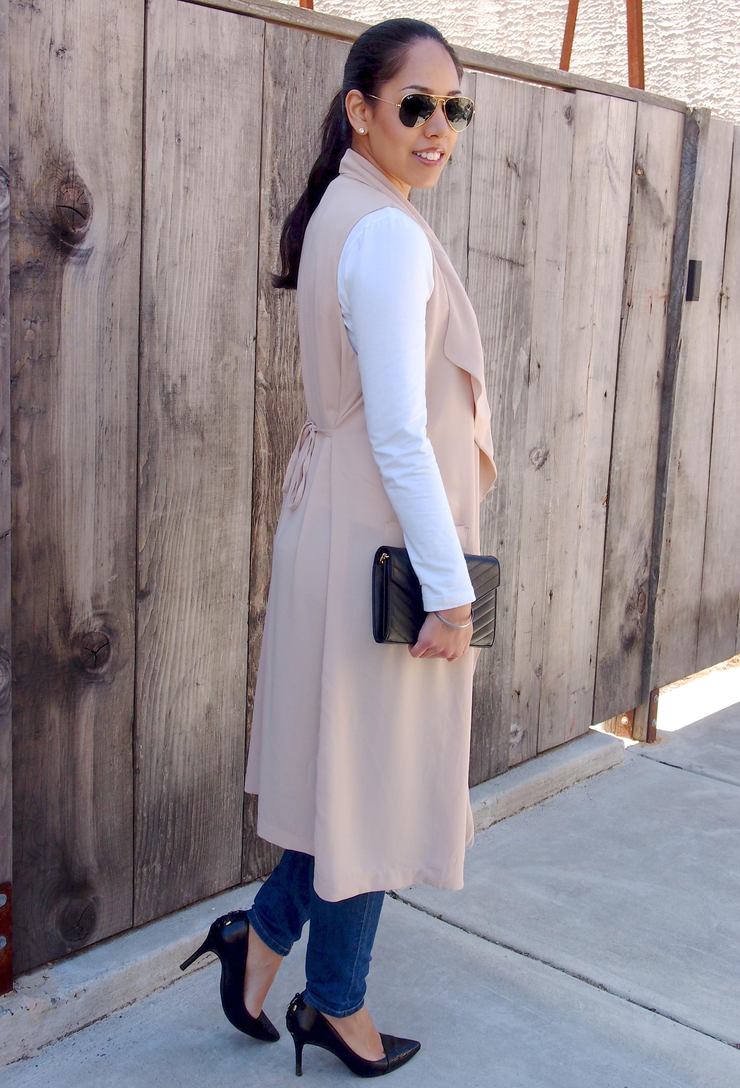 Pink Long Sleeveless Vest