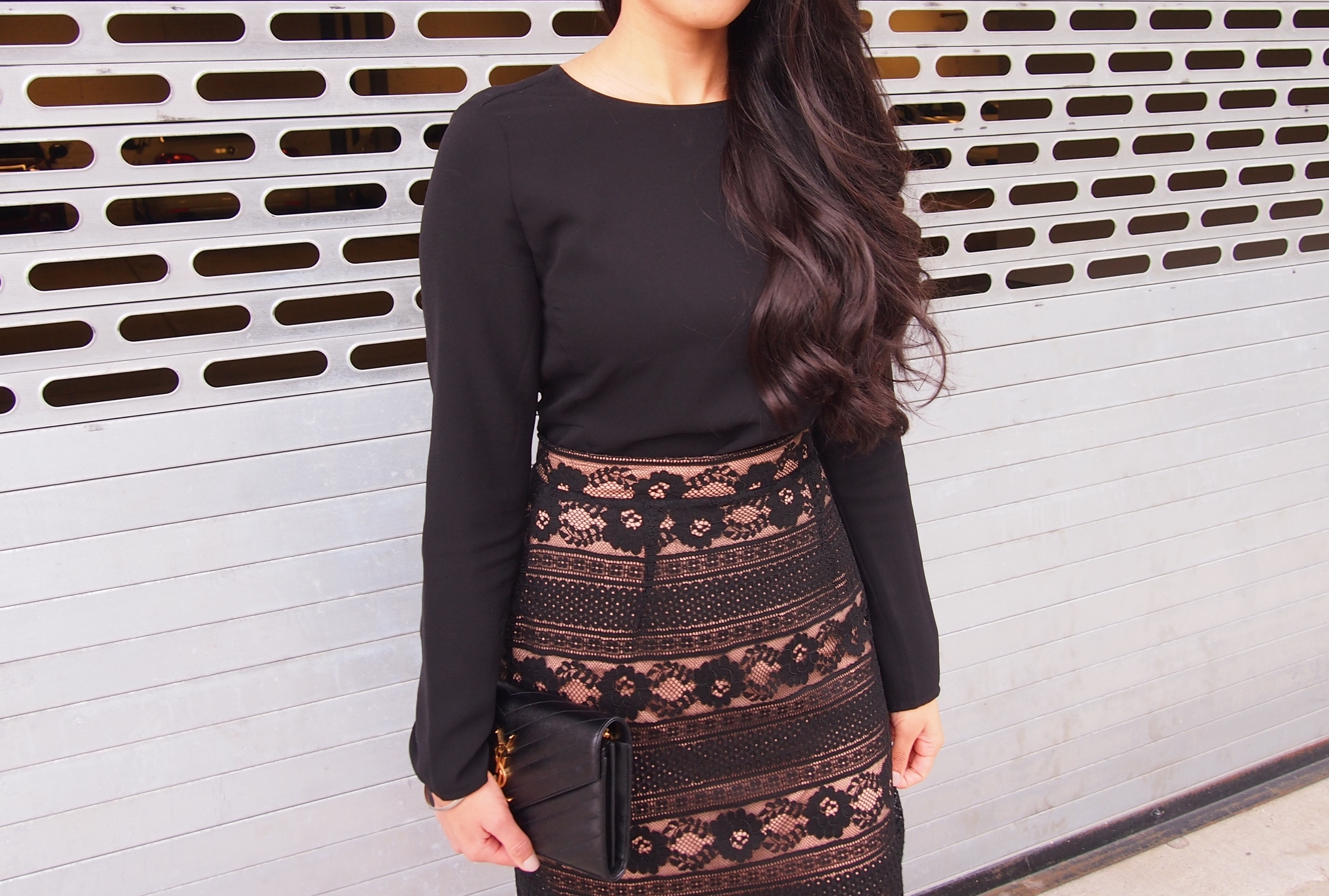 H&M Lace Skirt and Curly Hair