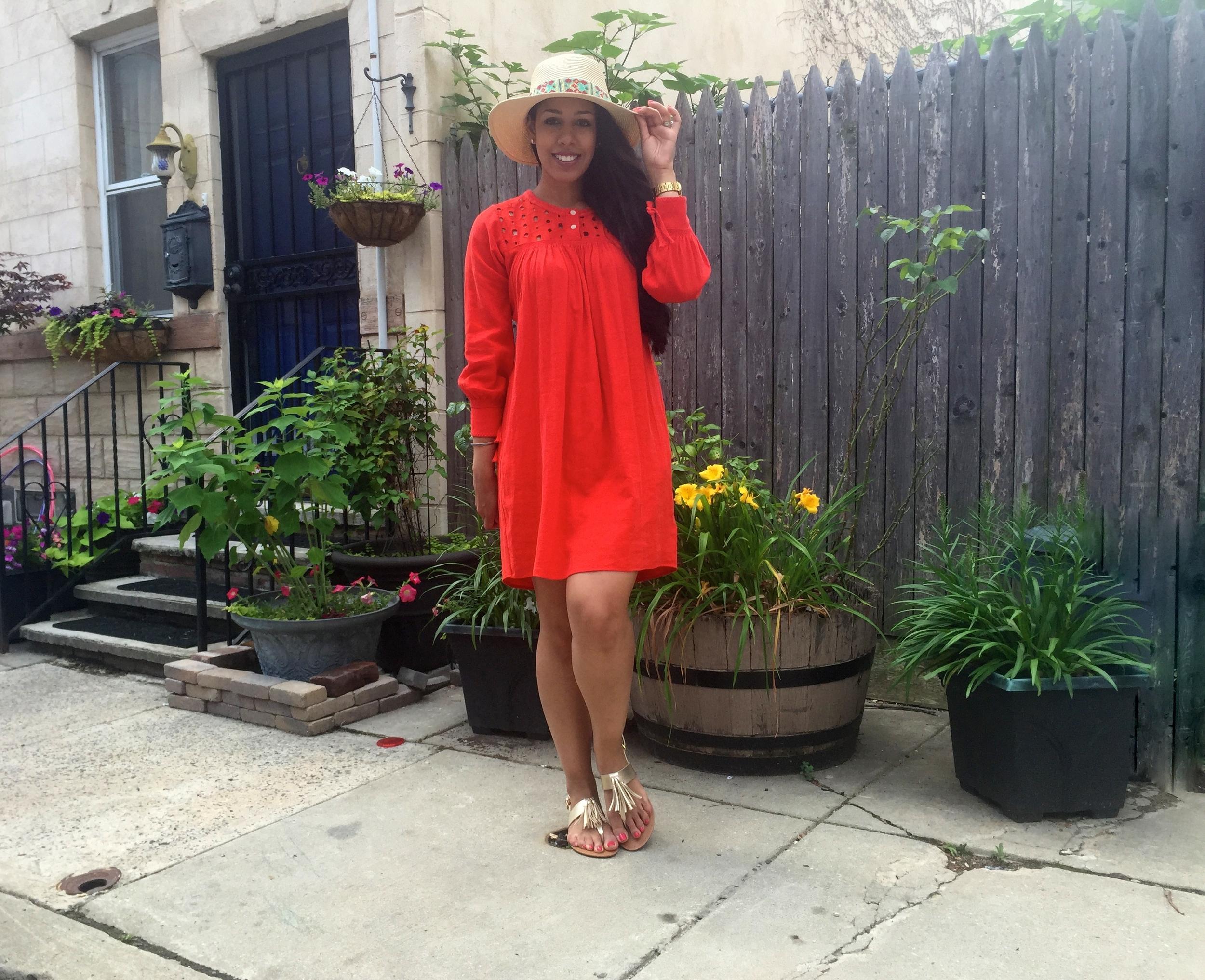 Madewell Eyelet Daybreak Dress Red