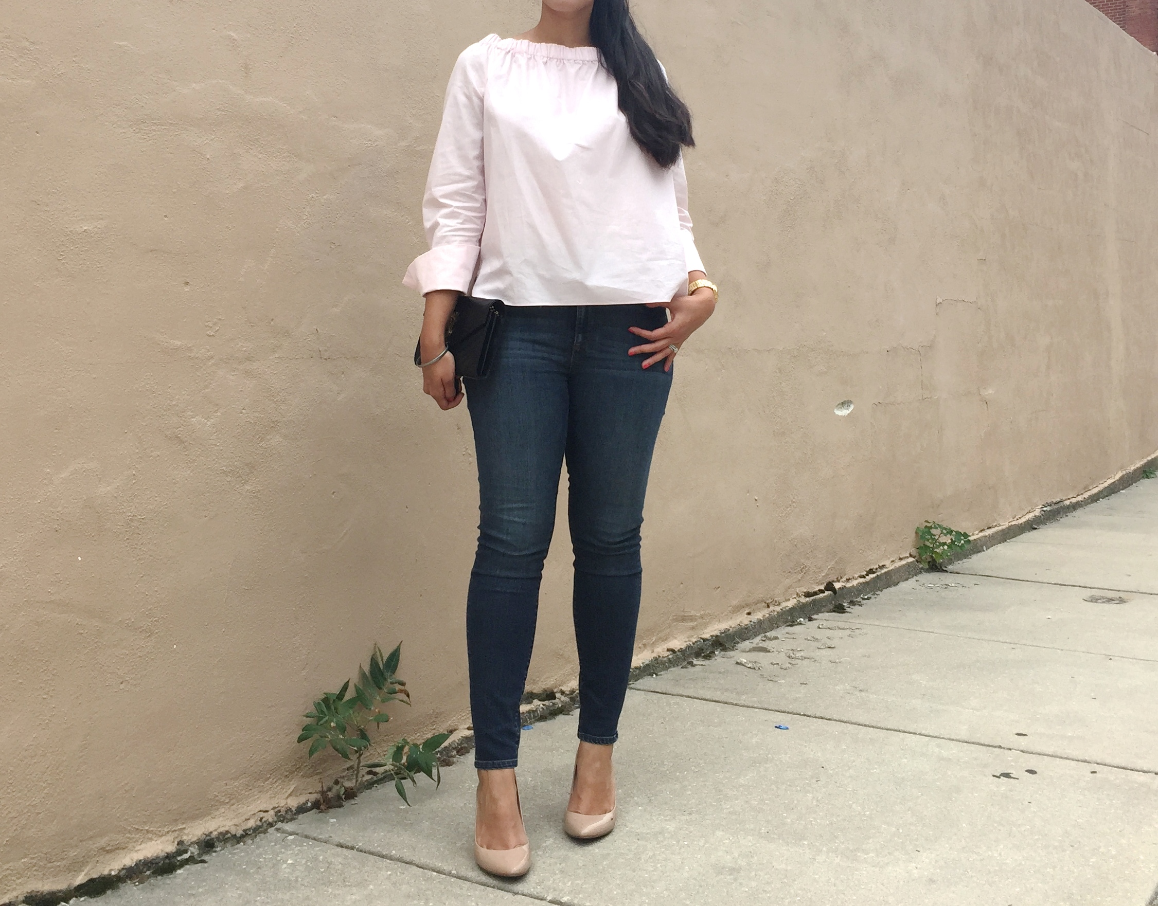 Off the shoulder outfit
