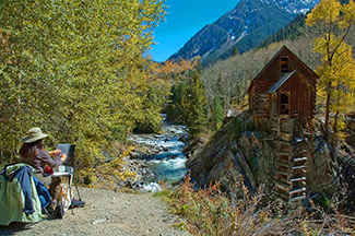 Stephanie painting at the Crystal Mill
