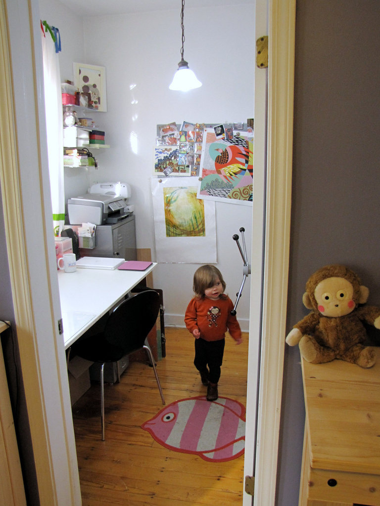 My current studio when I first moved it and gave up the pink room. Such great natural lighting! Toddler blee checking out the space before we removed the door and put a gate up.