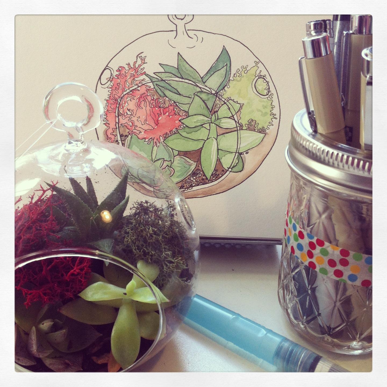 Succulent Terrarium in my art studio.