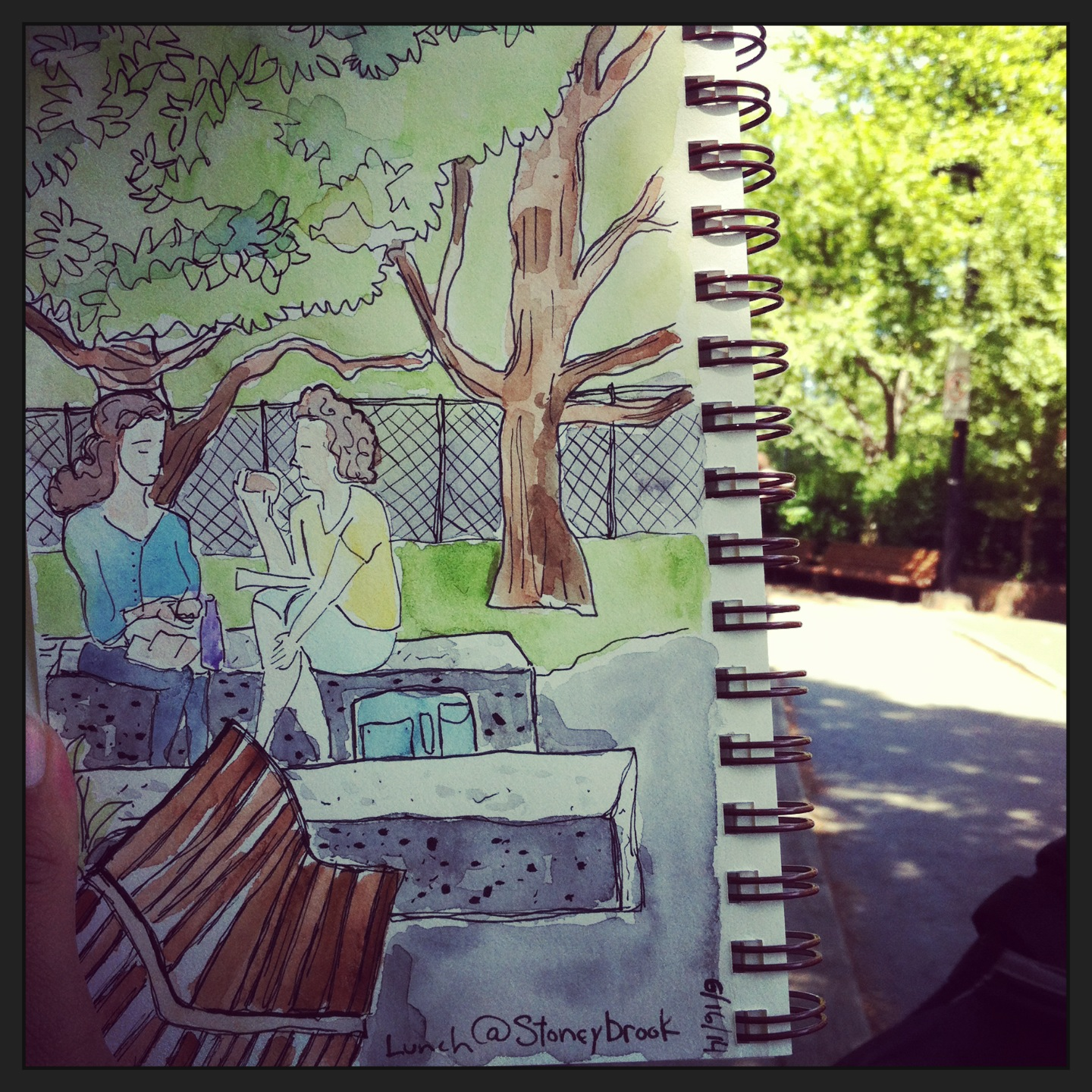two strangers eating lunch and talking while I sketched them before I picked up my kids from school.