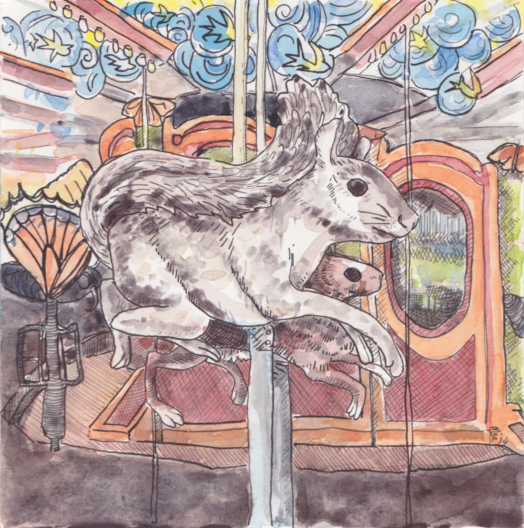 The fantastic carousel on the Boston Greenway opened last year and is a delight for both children and adults. This little painting went to a very good home this weekend.