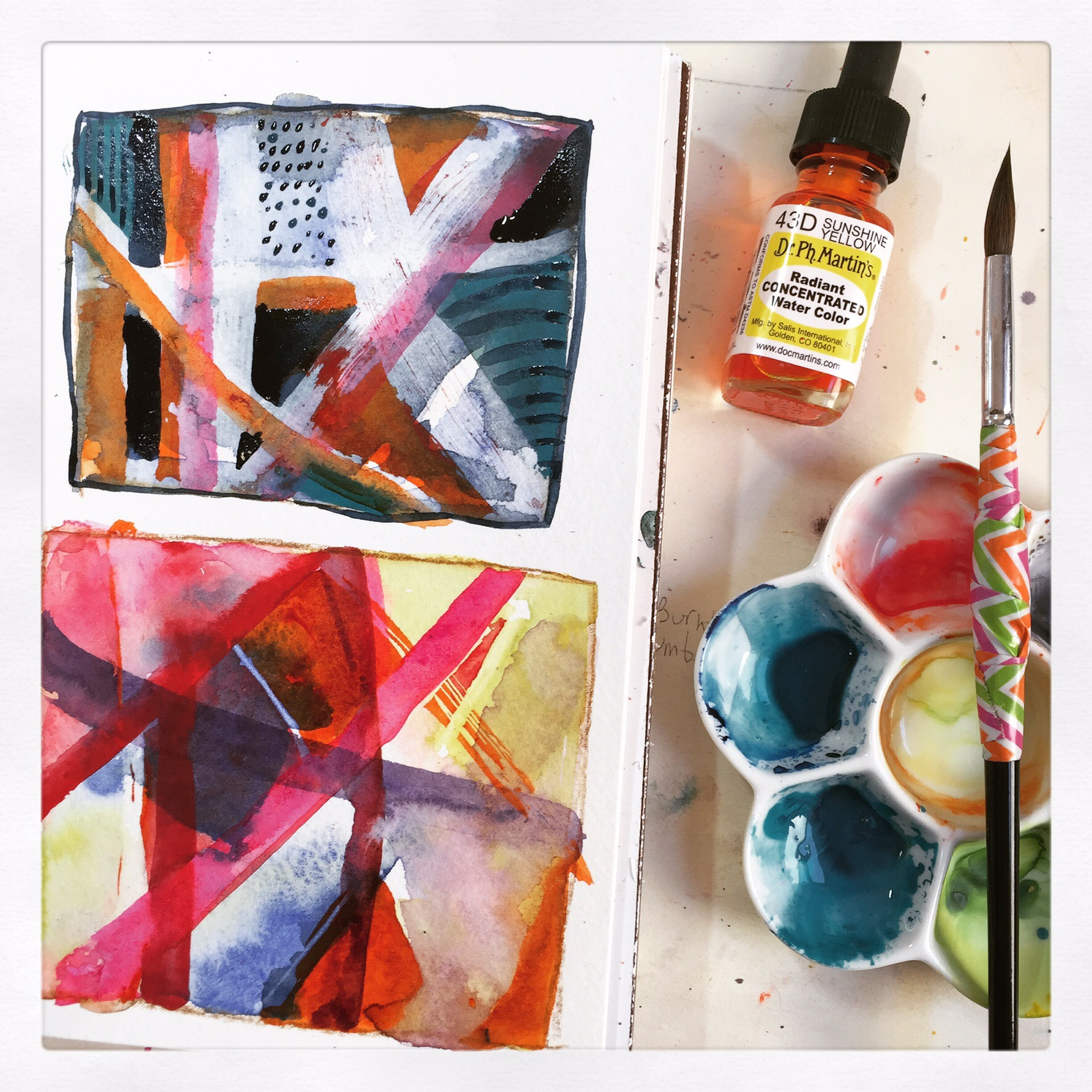 Sick day watercolor abstracts in my sketchbook while I sip tea with honey.