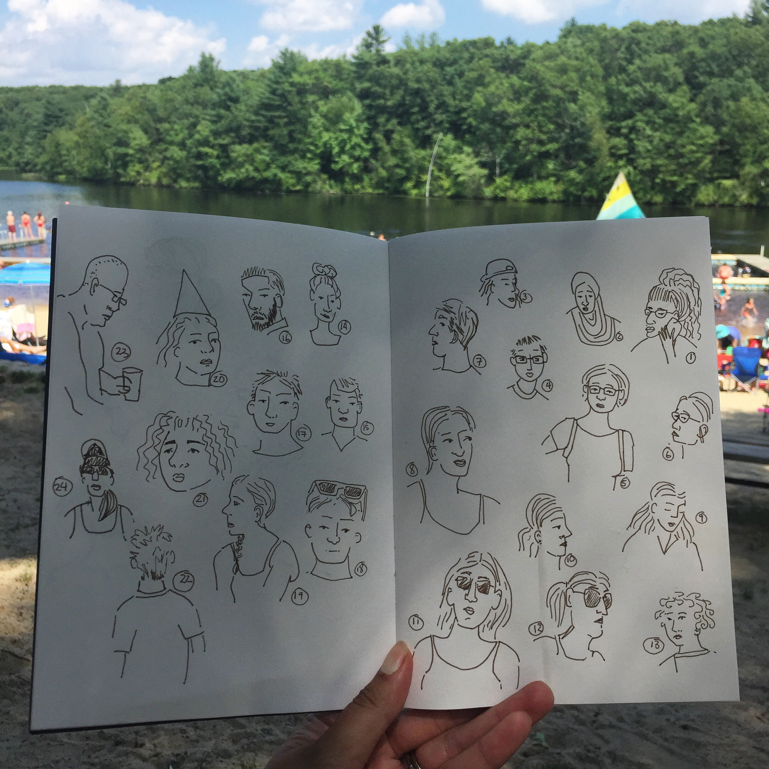 Sketching people at the beach.