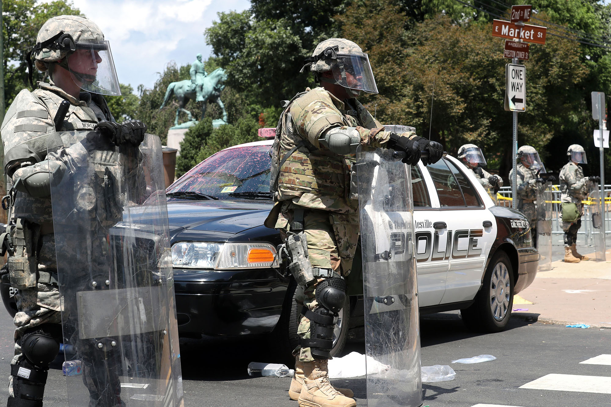 Police maintain a perimeter around Emancipation Park after an unlawful assembly was declared before the scheduled start of the Unite the Right rally in Charlottesville on Saturday, August 12, 2017.