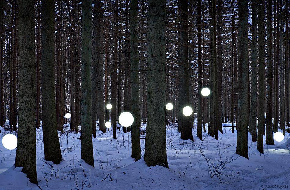 """Light installation """"Strange balls in the forest"""" Christmas 2012 Kaupo Kikkas"""
