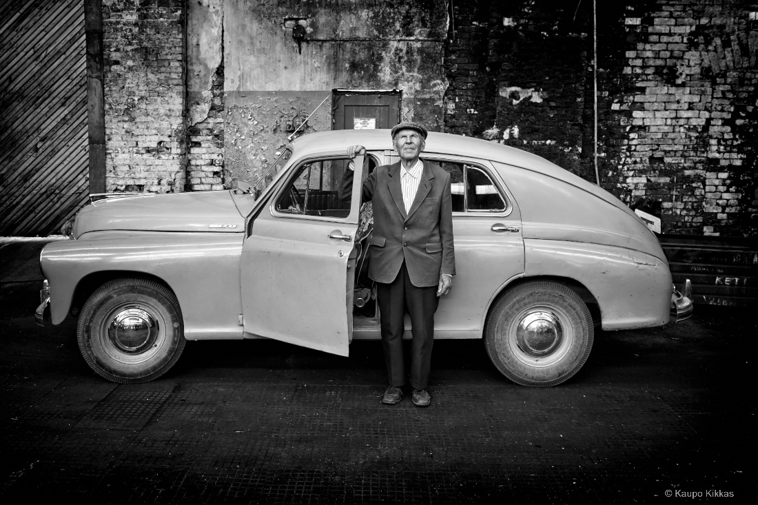 63 years together. Olev Saral and his car.