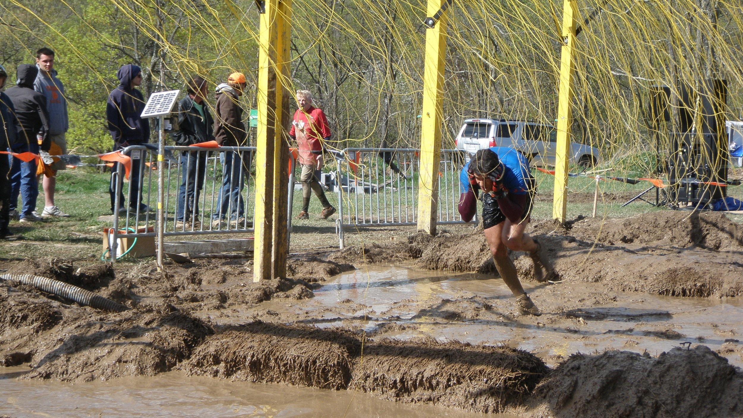 Electroshock Therapy, final obstacle before the finish line. I did get zapped on this one. Not the face!