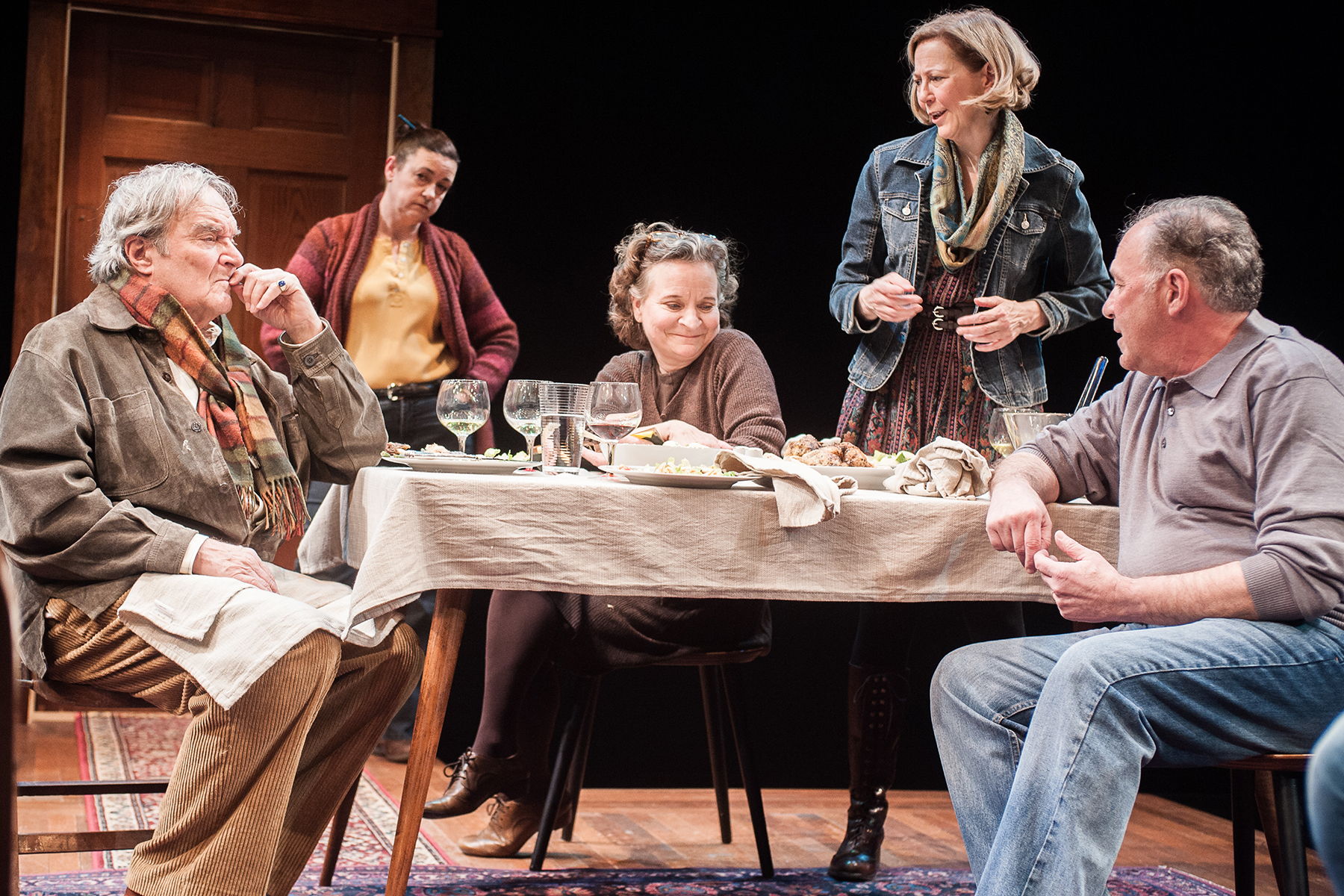 Ted van Griethuysen, Elizabeth Pierotti, Sarah Marshall, Kimberly Schraf, and  Rick Foucheux in  That Hopey Changey Thing.  (Photo: Teddy Wolff)