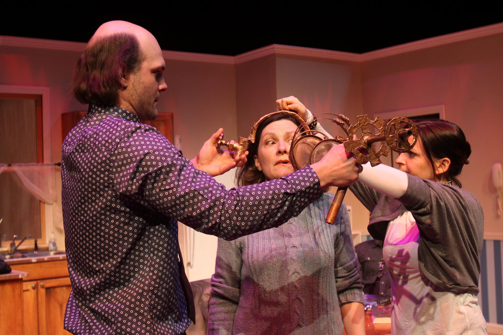 David Zimmerman, Jennifer Mendendall, and Kimberly Gilbert in Forum Theatre's Pluto.
