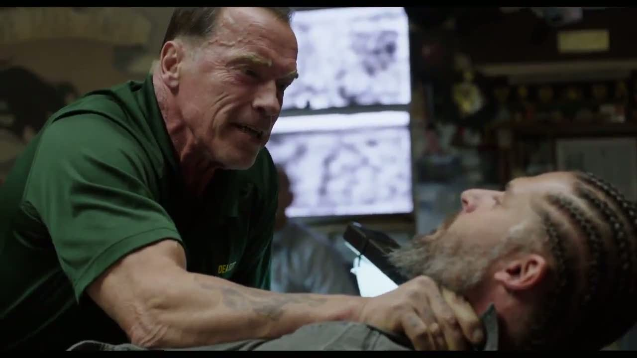"""Vhat did I tell you about those stupid cornrows!"" Arnold Schwarzenegger and Joe Manganiello in  Sabotage ."