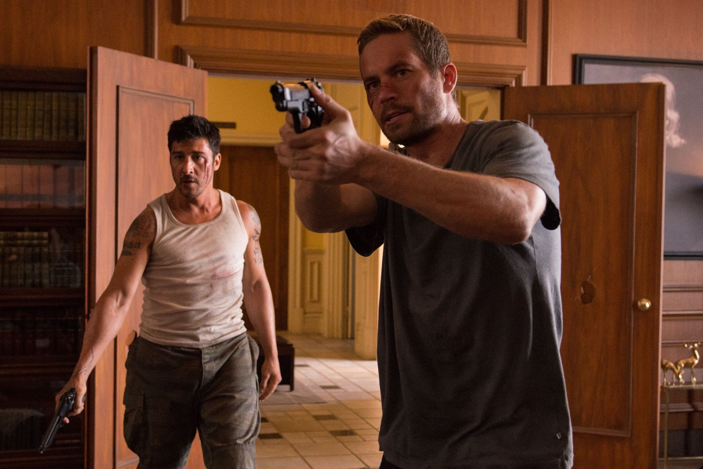 David Belle and Paul Walker in  Brick Mansions,  a not-as-good remake of the French action film  District B13.